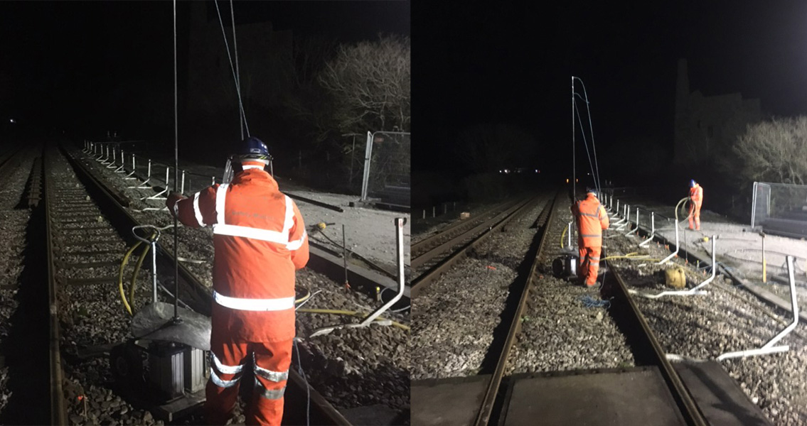 Some of the injection work at the railway near by Scorrier was carried out at night.