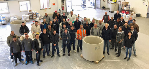 "Group photo of the participants of the two-day training course for specialist applicators held on 18 and 19 February 2020 in the ""Deminar"" hall of MC-Bauchemie's training centre in Bottrop. ""Deminar"" is a term created by MC from (product) demonstration and seminar."
